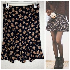 Vintage Black Floral Flowy Mini Skirt Size 8